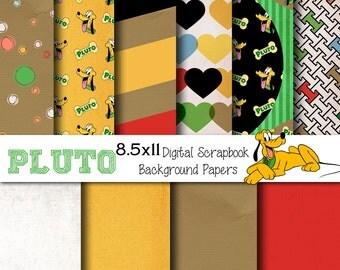 Disney Pluto Themed 8.5x11 A4 Digital Scrapbook Paper Backgrounds -INSTANT DOWNLOAD -
