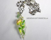 Spring Yellow & Green Floral Necklace Flower Earrings on Crystal Chain Pendant