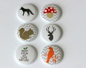 6 One Inch Woodland Animals Flair- Pinback, Flair, Hollow Back, Flat Back Button