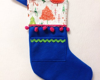 Stocking, Felt Stocking, Christmas Stocking, Pick Your Own Pocket Peeper - Crazy Christmas - Teal Lime Blue Trees