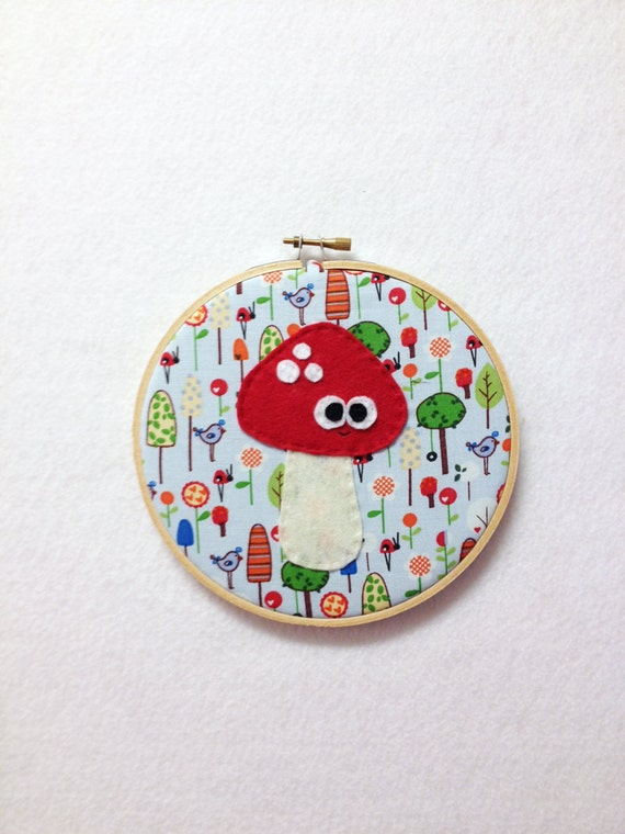 Mushroom Art, Fabric Wall Art - Missy the Mushroom, Embroidery Hoop Art, Wall Art, Fabric Wall Hanging