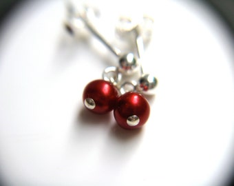 Red Pearl Earrings . Small Pearl Stud Earrings . Ruby Red Freshwater Pearl Earrings . Red Pearl Posts Sterling Silver- Santa Rosa Collection