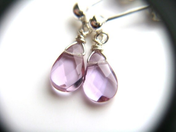 RESERVED Light Purple Earrings . Purple Pink Dangle Earrings . Plum Purple Earrings Sterling Silver . Feminine Jewelry - Veronica