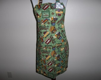 Apron, Creative Woman, Full Womens Apron, Craft Apron, Chef's Aprons, Reversible, Front Pocket, Adjustable Neck Band, Handmade, Hostess Gift