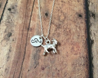 Goat initial necklace - goat jewelry, farm necklace, show goat jewelry, state fair necklace, silver goat necklace, gift for goat owner