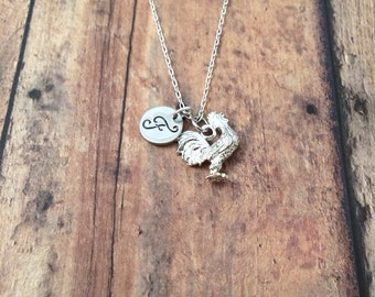 Rooster initial necklace - rooster jewelry, chicken necklace, farm animal necklace, silver rooster necklace, farm jewelry, bird necklace