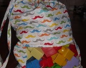 Rainbow Mustache peek a boo toy sack - ChildishThoughts