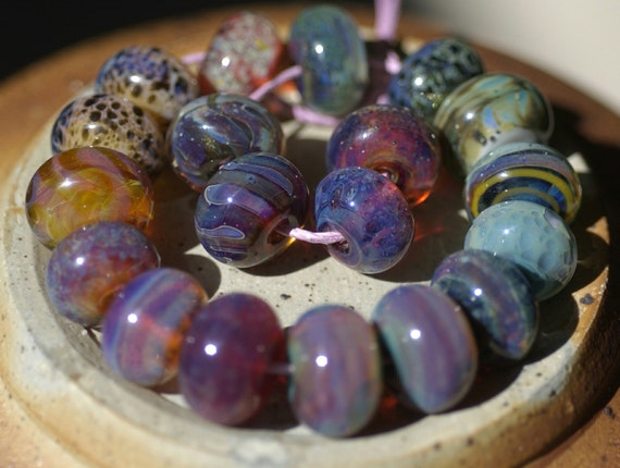 Lampwork Boro Bead Set (20) Pink, purple, and blue Orphan Beads