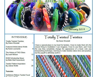 January 2014 Soda Lime Times Lampworking Magazine - Twisties issue - (PDF) - by Diane Woodall
