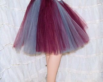 BONANZA Burgundy Wine Grey Striped Romance TuTu Skirt Adult Medium - MTCoffinz - Ready to ship