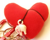 Red Heart: whimsical carabiner keychain made with new, old and vintage findings