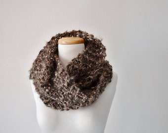 Chunky Knit Lightweight Cowl Hand Knit in Brown Wool, Mohair, Acrylic Blend. Mori Girl, Boho, Fall Fashion, Autumn Accessories for Women