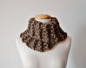 Chunky Knit Cowl in Barley Brown - Rustic Handknit Chunky Cowl