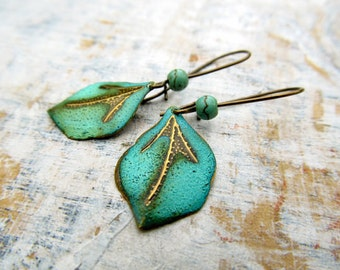 Leaf earrings patina small dangle earrings rustic earrings Boho jewelry