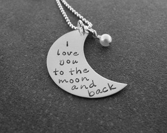 Hand Stamped Jewelry I Love You To The Moon And Back Crescent Moon Necklace Guess How Much I Love You Sterling Silver Ready to ship