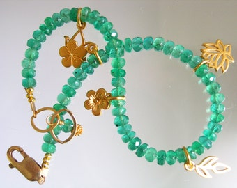 Emerald Bracelet, Gold Filled Charm Bracelet, Beaded Bracelet, Precious Gemstone, Lily, Lotus, Leaves, Original Design, Signature
