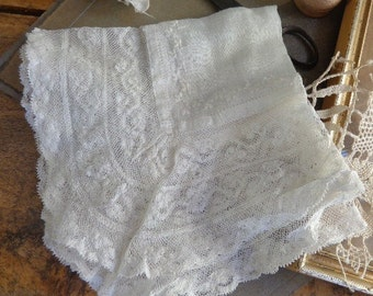 Wedding Handkerchief, Antique Victorian Lace and Embroidery, Something Old