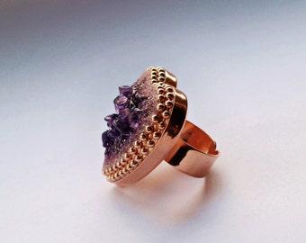 Purple Rocks Amethyst Crystal Statement Ring