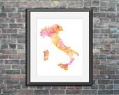 Italy watercolor typograp...