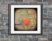 Map art print marry me San Francisco California candy heart custom engagement personalized wedding anniversary gift wall decor