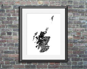 typography map art print - Scotland - 16x20 - scottish country poster custom wedding engagement graduation gift anniversary wall art decor