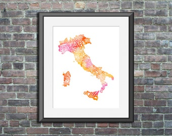 Italy watercolor typography map art print 11x14 country poster wedding engagement graduation gift anniversary wall art decor