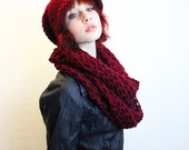SET Rasta Love Cowl Hood Vegan scarf slouch hat Cranberry ruby red