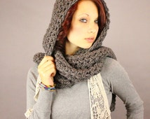 The KISS open end fringe long cowl hood scarf wool slate grey Pick your color
