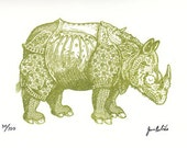 Sugar Skull Rhinoceros Limited Edition Gocco Screenprint