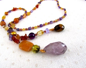 Earth Tone Lariat Necklace,  Amethyst, Beaded Jewelry, Stone Necklace, Purple, Brown, Unique Jewelry