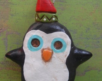 Red and green Penguin Folk Art Ornament