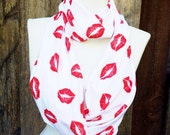 Kiss My Infinity Scarf, ON SALE, Red Lips, Scarves, Teen, tween, girls Scarves, gifts for her, Red & White, Cotton knit jersey