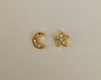 Floating charms for memory lockets - gold moon with crystals, gold star with crystals
