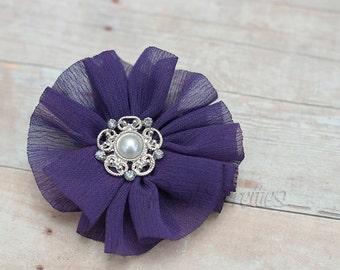 Ruffled Chiffon Flower Hair Clip - Lavender Purple