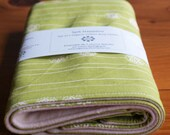 Organic Burp Cloth, Set of Two in STAMP STRIPE GRASS, Green Burp Cloths Gift Set of 2 by Organic Quilt Company