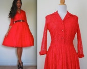 Vintage 50s 60s Red Lace Full Skirt Shirt Dress (size small, medium)
