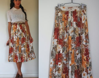 Vintage 60s 70s Floral Accordion Pleated Skirt (size xs, small)