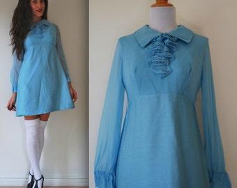 Vintage 60s Wild Blue Yonder Mini Dress (size small, medium)