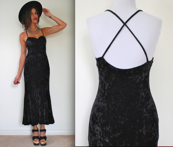Vintage 90s Contempo Casuals Black Crushed Velvet Maxi Dress (size xs, small)