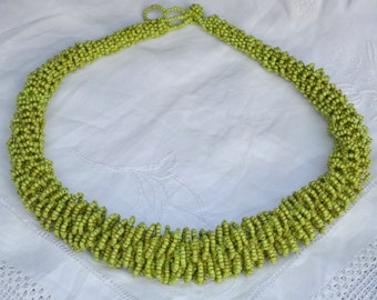 Vintage African Inspired Large Woven and Coiled Glass Beads Necklace - Statement Jewellery - Green