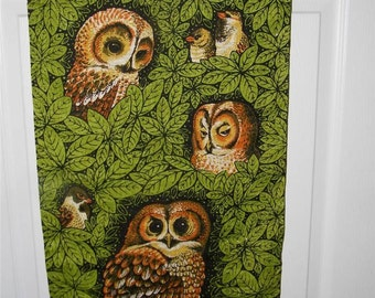 Vintage Linen Owl Wall Hanging Lois Long 9283