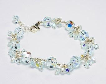 Blue Bridal Bracelet, Wedding Something Blue, Ice Blue, Swarovski Crystal Bracelet, Blue Wedding Jewelry, Light Blue, Sterling Silver