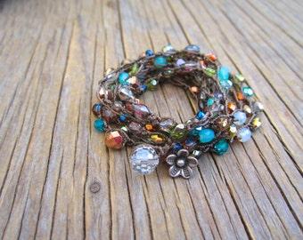 Misty meadow wrap bracelet or necklace, natural, boho jewelry