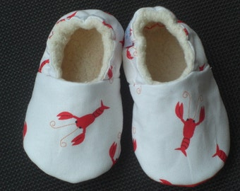 Lobster, Baby Shoes, Baby Slippers, Booties, Gender neutral, Cotton, Cotton Sherpa