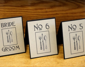 Modern Rustic Kraft Paper  Table Number Cards, Reception Decor, Guest Seating, Guest Tables, Weddings