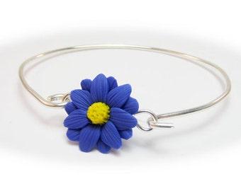 Aster Blue Flower Bracelet Sterling Silver Bangle - Aster Jewelry, September Birthday Birth Flower