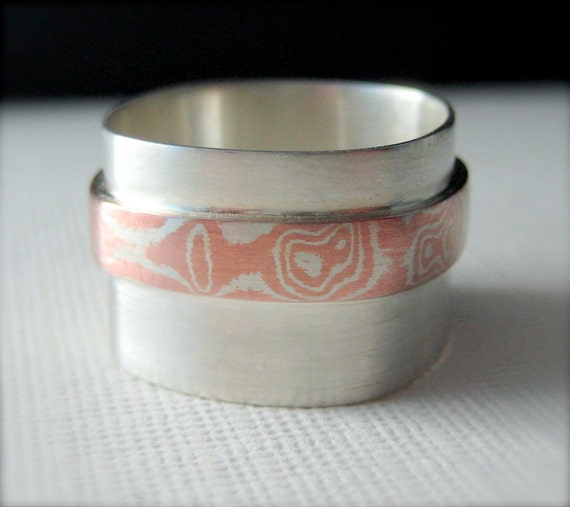 Sterling Silver and Mokume Gane Ring,  Wide Band Ring