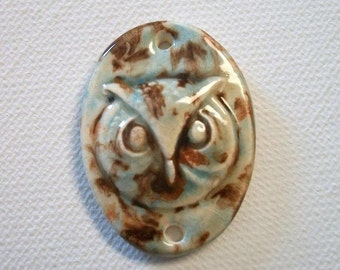 Ceramic Mocha Marble Owl Face Connector