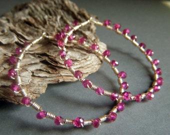 Garnet Hoop Earrings Sterling Silver Hoops, Wirewrapped Red Rondelle Boho Bohemian Hoops, Genuine Rhodolite Garnet Gemstone Hoop