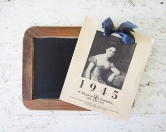 Vintage 1945 Calendar, 1940's Historical Society Calendar
